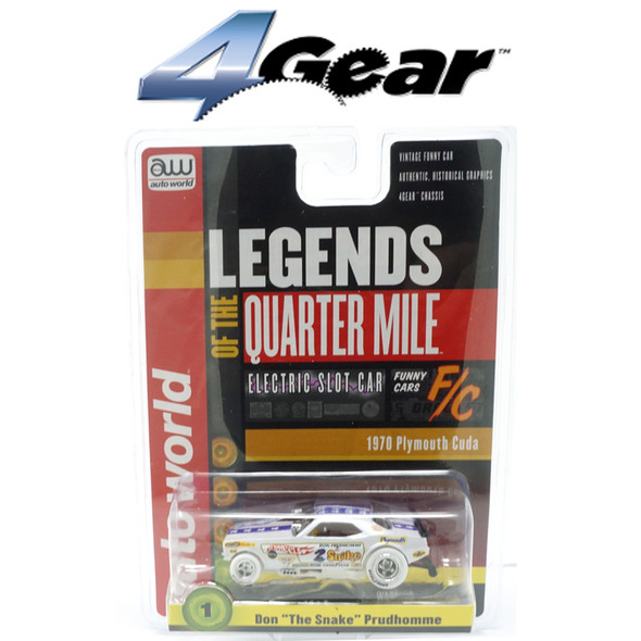 Auto World 4Gear R25 Don The Snake Prudhomme 1970 Plymouth Cuda iWheels HO Slot Car