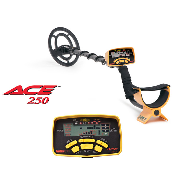 Garrett Ace 250 Metal Detector ACE 250 Deluxe Sports Pack w/ SearchCoil 1139050