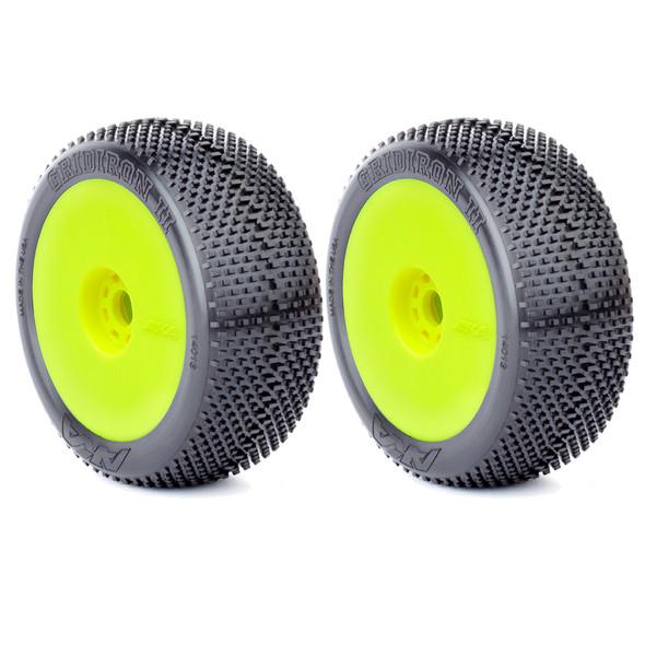AKA 14013SRY 1:8 Buggy Gridiron II Soft Tires Evo Wheel Pre-Mounted Yellow (2)