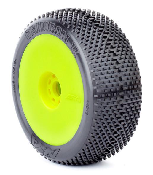 AKA Racing 1:8 Buggy Gridiron II Tires Super Soft w/ EVO Wheel Pre-Mounted Yell.