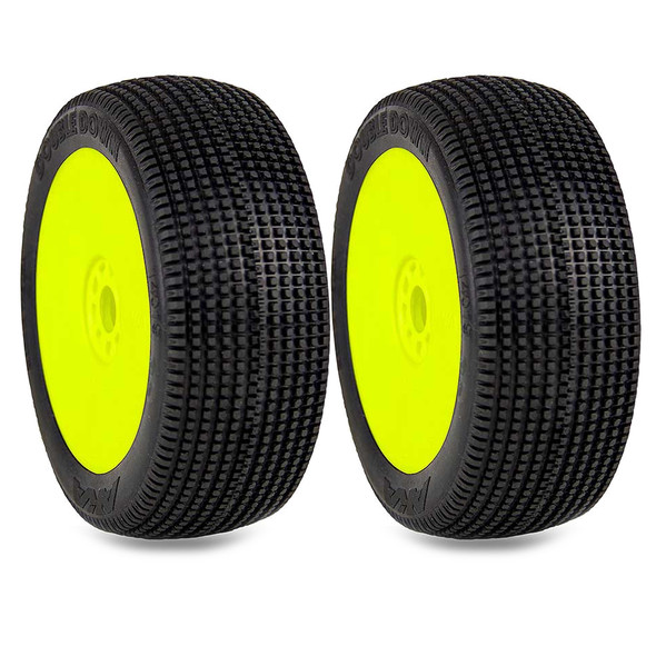 AKA 14019SRY 1:8 Buggy Double Down Soft Tires Evo Wheel Pre-Mounted Yellow (2)
