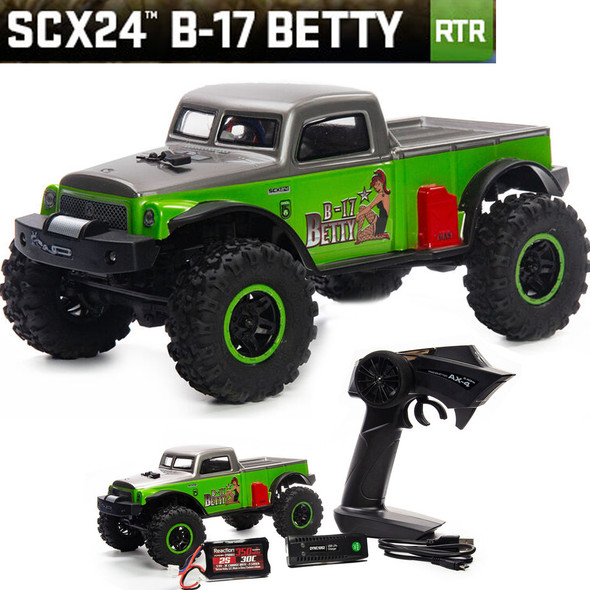 Axial AXI00004 1/24 SCX24 B-17 Betty Limited Edition 4WD RTR Rock Crawler Green