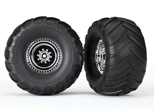 Traxxas 3663X Tires/Whls Assmbld Glued Chrome Wheels w/Foam Insert (2) : Bigfoot