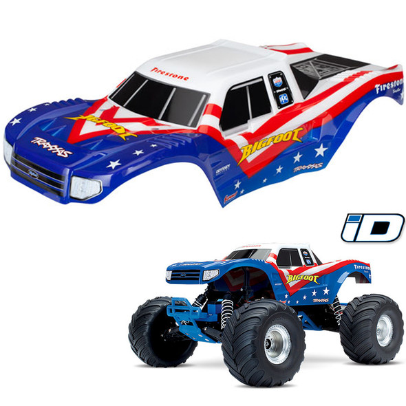 Traxxas 3676 Painted Body Red / White & Blue w/ Decals Applied : Bigfoot