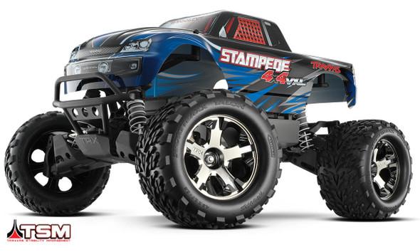 Traxxas 1/10 Stampede 4X4 VXL Brushless TSM TQi 4WD RTR Monster Truck Blue