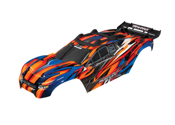 Traxxas 6717T Orange Body w/Mounts & Support for Clipless Mounting : Rustler 4x4 VXL