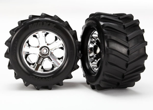 Traxxas 6771 2.8'' Maxx Tires Assmbld Glued Chrome Wheels (2) : Stampede 4x4