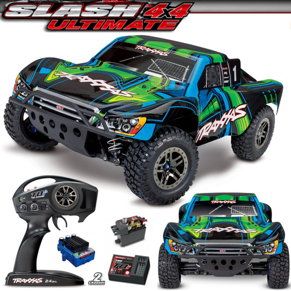 Traxxas 68077-4 1/10 Slash 4x4 Ultimate Brushless PRO 4WD Short Course Green Truck