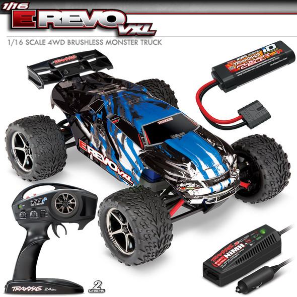 Traxxas 71076-3 1/16 E Revo VXL Brushless 4WD Monster Truck Blue RTR w/ TQi / TSM / iD