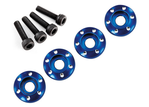 Traxxas Latrax 7668 Alum Wheel Nut Washers Blue (4) w/Screws : LaTrax Teton