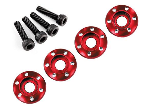 Traxxas Latrax 7668R Alum Wheel Nut Washers Red (4) w/Screws : LaTrax Teton
