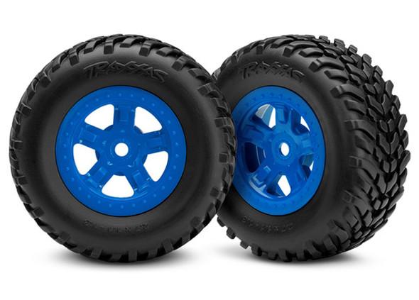 Traxxas LaTrax 7674 Tire/Wheel Assembled Glued SCT Blue (2) : 1/18 LaTrax SST
