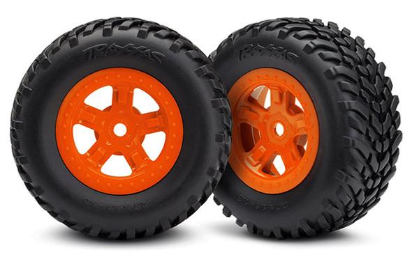 Traxxas LaTrax 7674A Tire/Wheel Assembled Glued SCT Orange (2) : 1/18 LaTrax SST