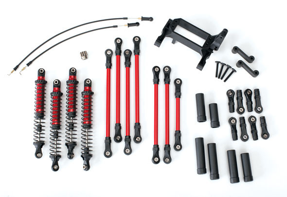 Traxxas 8140R Long Arm Lift Kit Complete Red : TRX-4 Ford Bronco / Defender / Tactical Unit