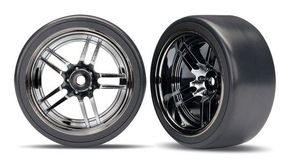 "Traxxas 8378 Front & Rear 1.9"" Tires/Wheels Black/Chrome : 4-Tec 2.0 AWD Chassis"