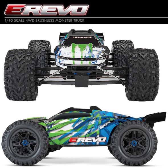 Traxxas 1/10 E-Revo VXL 2.0 4WD Brushless Monster Truck RTR Grn w/ TQi Radio/TSM
