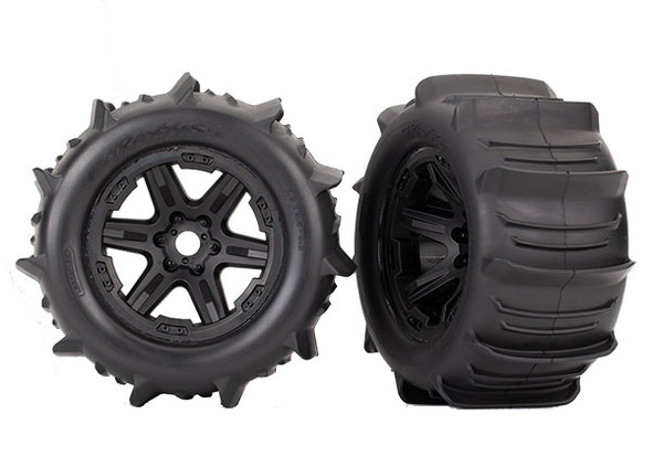 "Traxxas 8674 Tires & Wheels Assembled Glued/Black 3.8"" Wheels (2) : E-Revo VXL"