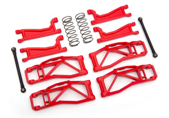 Traxxas 8995R Suspension WideMaxx Kit Red w/ F/R Arms/Frt Toe Links/Rear Shock Sprgs
