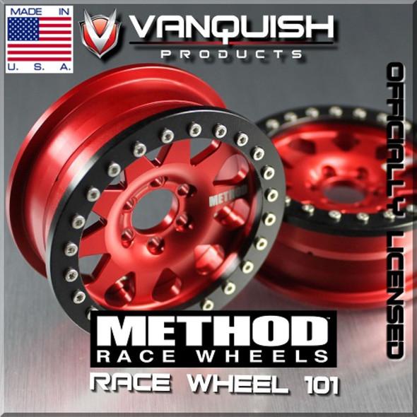 Vanquish Method 101 2.2 Race Wheels Red/Blk w/SLW 475 Wheel Hub Complete Set of 4 SCX10 / AX10 / Twin Hammer / Wraith / R1