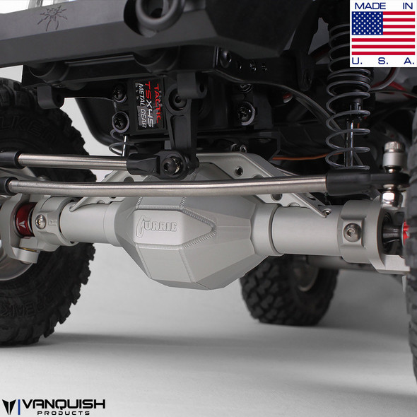 Vanquish Front Currie F9 Axle Grey Anodized Axial SCX10