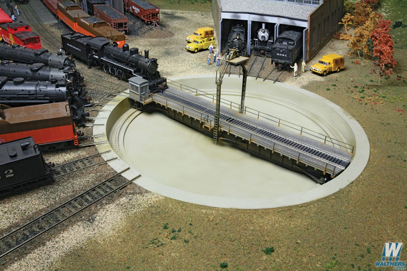 """Walthers 933-2860 Motorized 90' Turntable Assembled 13-3/4"""" Overall Diameter : HO Scale"""
