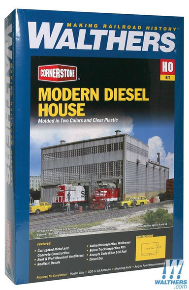 """Walthers 933-2916 Diesel House Kit - 9-1/4 x 16-7/8 x 6-1/2""""  : HO Scale"""