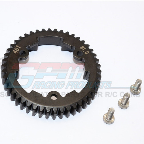 GPM Racing Steel Spur Gear 46T M1.0 - (1Pc) Black : XO-01