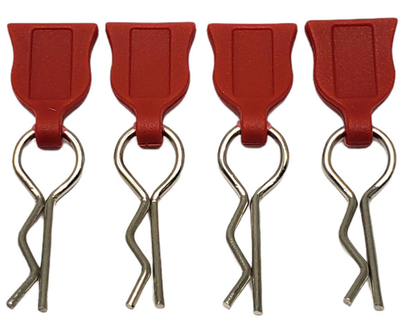 NHX 1/10 Body Clips with Rubber Pull Tap - Red 4pc