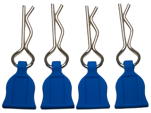 NHX 1/10 Body Clips with Rubber Pull Tap - Blue 4pc