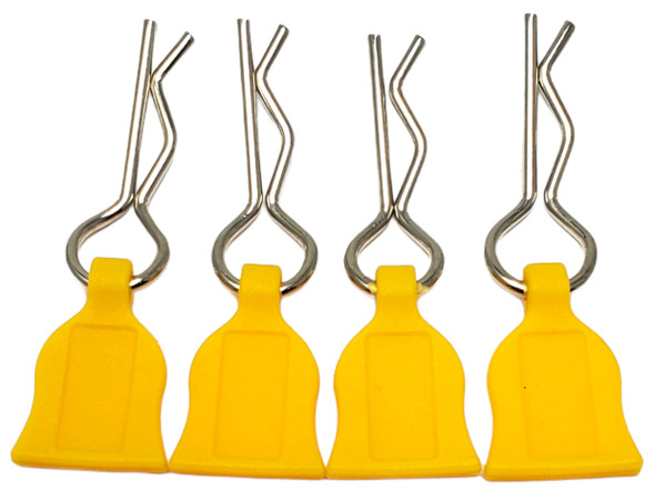 NHX 1/10 Body Clips with Rubber Pull Tap - Yellow 4pc