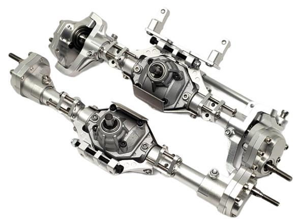 NHX Alum Complete Portal Axle Set Silver 313mm Wheelbase : SCX10 III