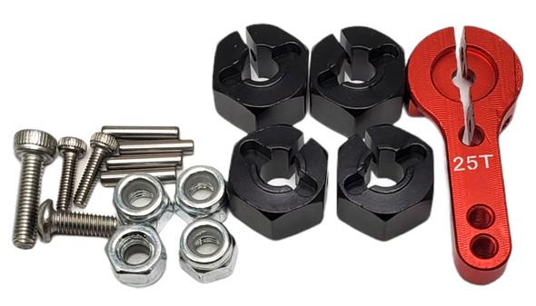NHX Alum Complete Portal Axle Set Black & Red 313mm Wheelbase : SCX10 III