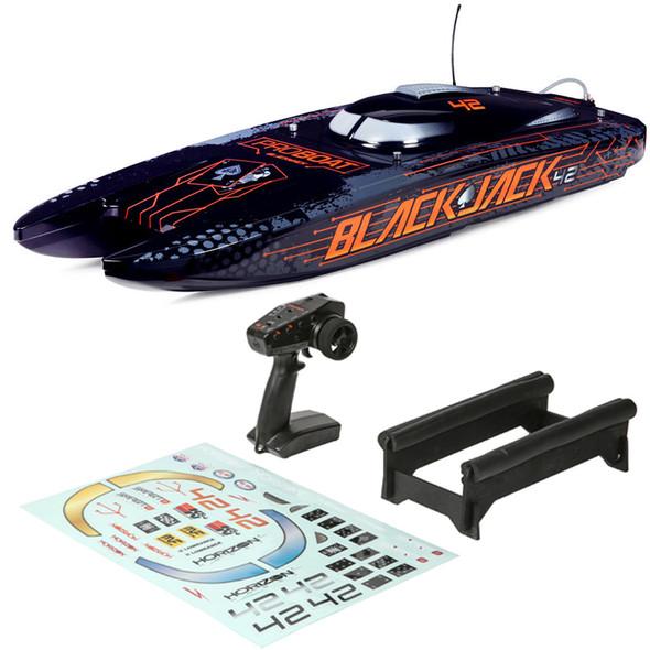 "Pro Boat PRB08043T1 Blackjack 42"" 8S Brushless Catamaran RTR Boat  Black/Orange"