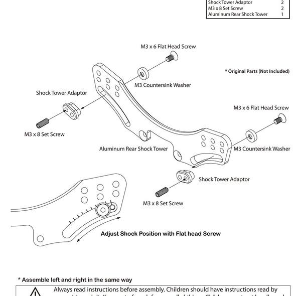 Yeah Racing SKD5-005BK Aluminum 7075 Rear Shock Tower : 3Racing Sakura D5