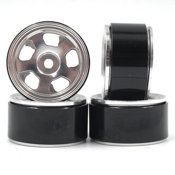Yeah Racing WL-0144SV Alum CNC 5 Spoke Beadlock Rim (4) : Axial SCX24 Silver