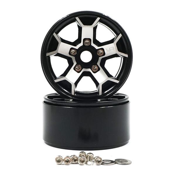 Yeah Racing WL-0147BK 1.9 Aluminum CNC 5 Spoke Beadlock Rim (2pcs)