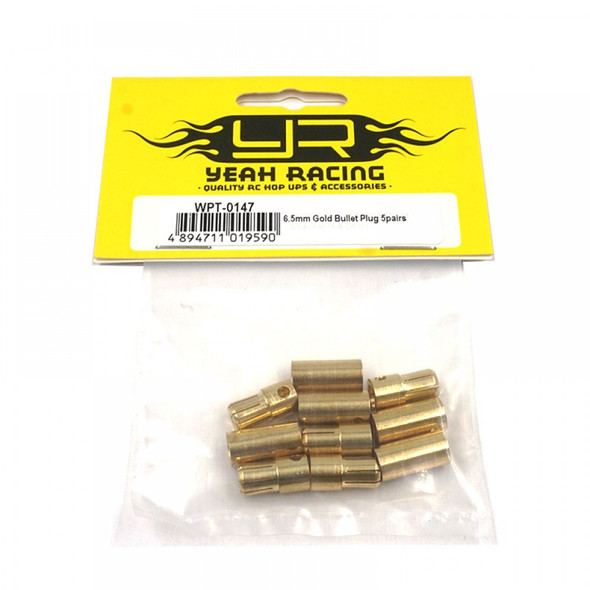 Yeah Racing WPT-0147 6.5mm Gold Male (5) / Female (5) Bullet Plugs