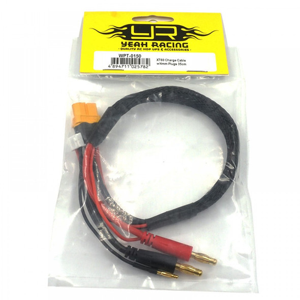 Yeah Racing WPT-0150 XT60 Charge Cable w/ 4mm Plugs 35cm