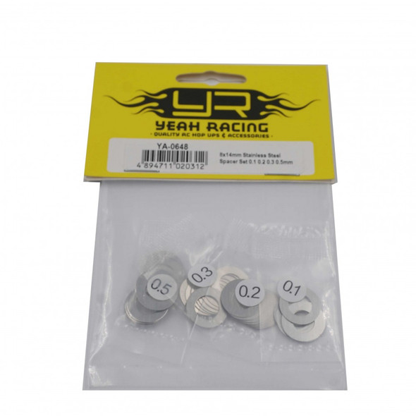 Yeah Racing YA-0648 8x14mm Stainless Steel Spacer Set 0.1 / 0.2 / 0.3 / 0.5mm