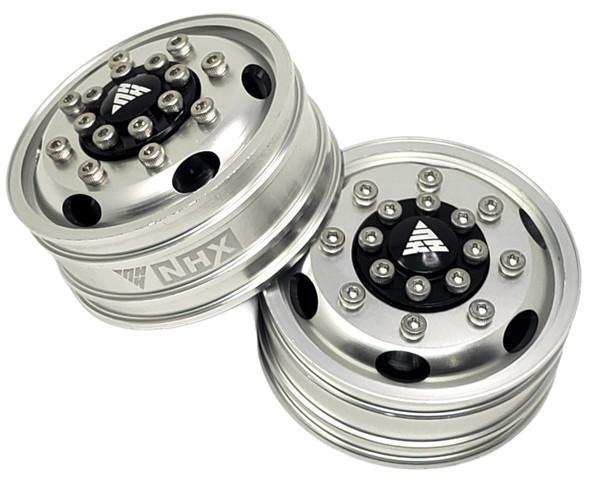 NHX Aluminum Front Wheel Rim Silver For 1/14 Tamiya Tractor Trucks (Hex Hubs)