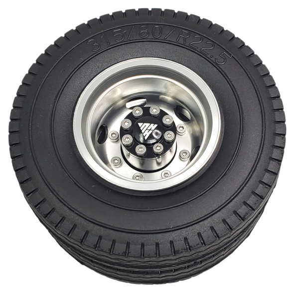 NHX Aluminum Rear Wheels Rim Silver w/ Tires For 1/14 Tamiya Tractor Trucks