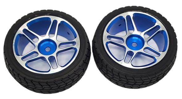 NHX 1/10 Tire w/ Aluminum Rims - Blue  2pcs Hex 12mm 4-TEC / RS4