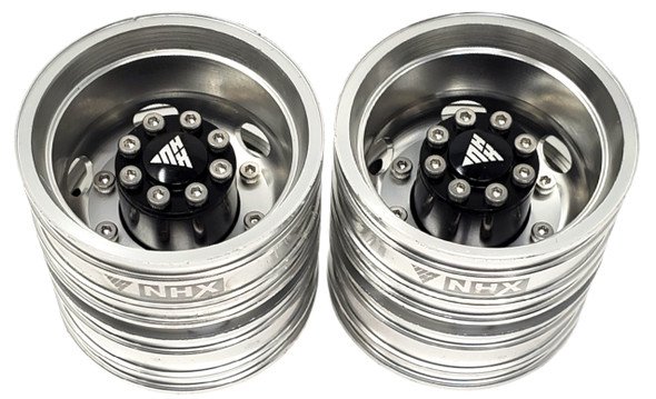NHX Aluminum Rear Dually Wheels Silver For 1/14 Tractor Trucks (2)