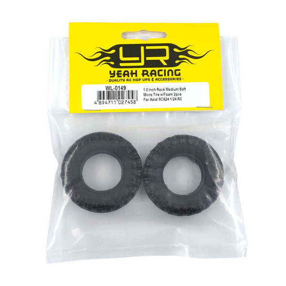 Yeah Racing WL-0149 1.0 Inch Rock Medium Soft Micro Tire w/Foam (2) : SCX24 1/24