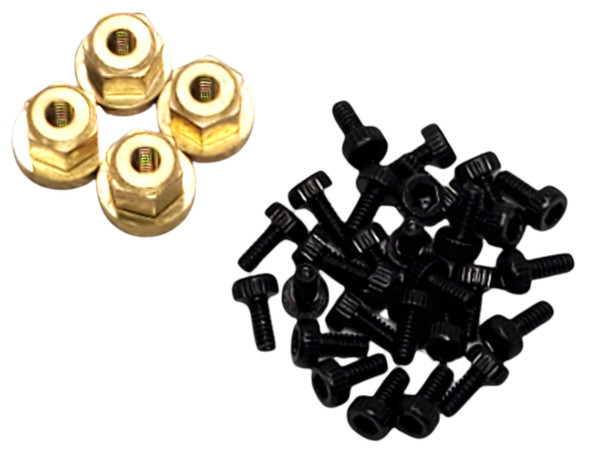 "NHX 1.0"" 8H Alum Beadlock Crawler Wheels Rims Black (4) w/ Brass Weight Center Ring : SCX24"