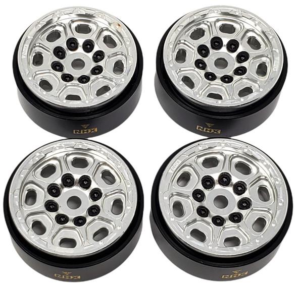 "NHX 1.0"" 8H Alum Beadlock Crawler Wheels Rims Silver (4) w/ Brass Weight : SCX24"