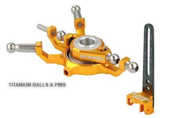 Microheli Blade 130x Titanium X Swashplate w/ Anti-Rotation Guide combo (GOLD) 130 X