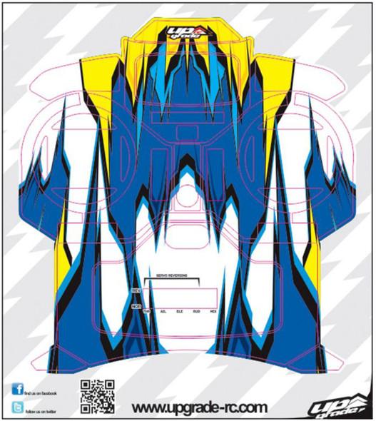Upgrade RC UPG7301 Blue / Yellow Macro Skin / Decal / Sticker for Spektrum DX5e
