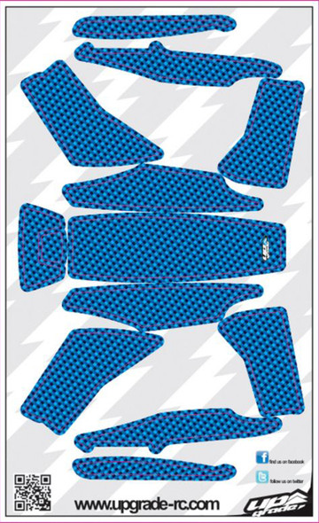 Upgrade RC Blue Faux Carbon Skin / Decal / Sticker 200QX UPG7211