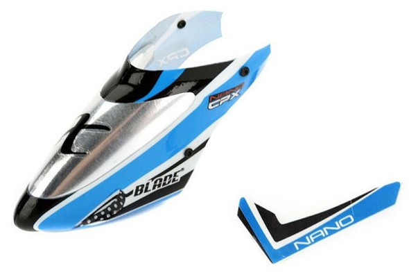Blade BLH3318A Nano CP X Complete Blue Canopy with Vertical Fin CPX nCPX nCP X